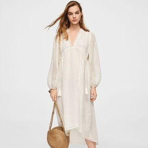 Mango NWT Embroidered Linen Dress